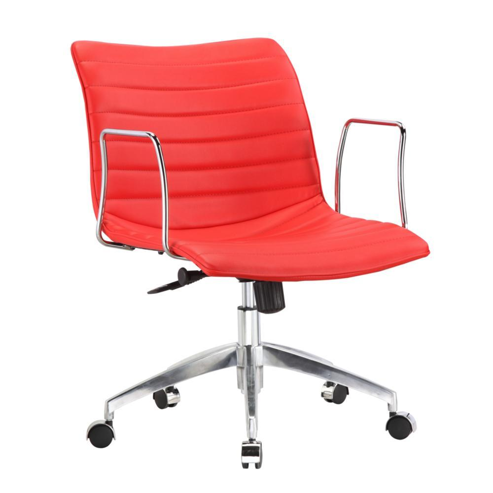 Red Comfy Office Chair Mid Back