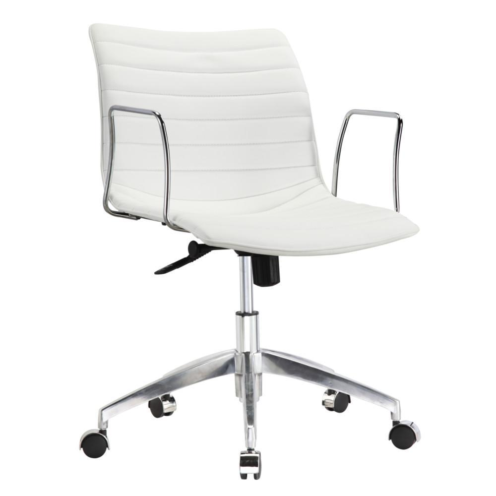 White Comfy Office Chair Mid Back