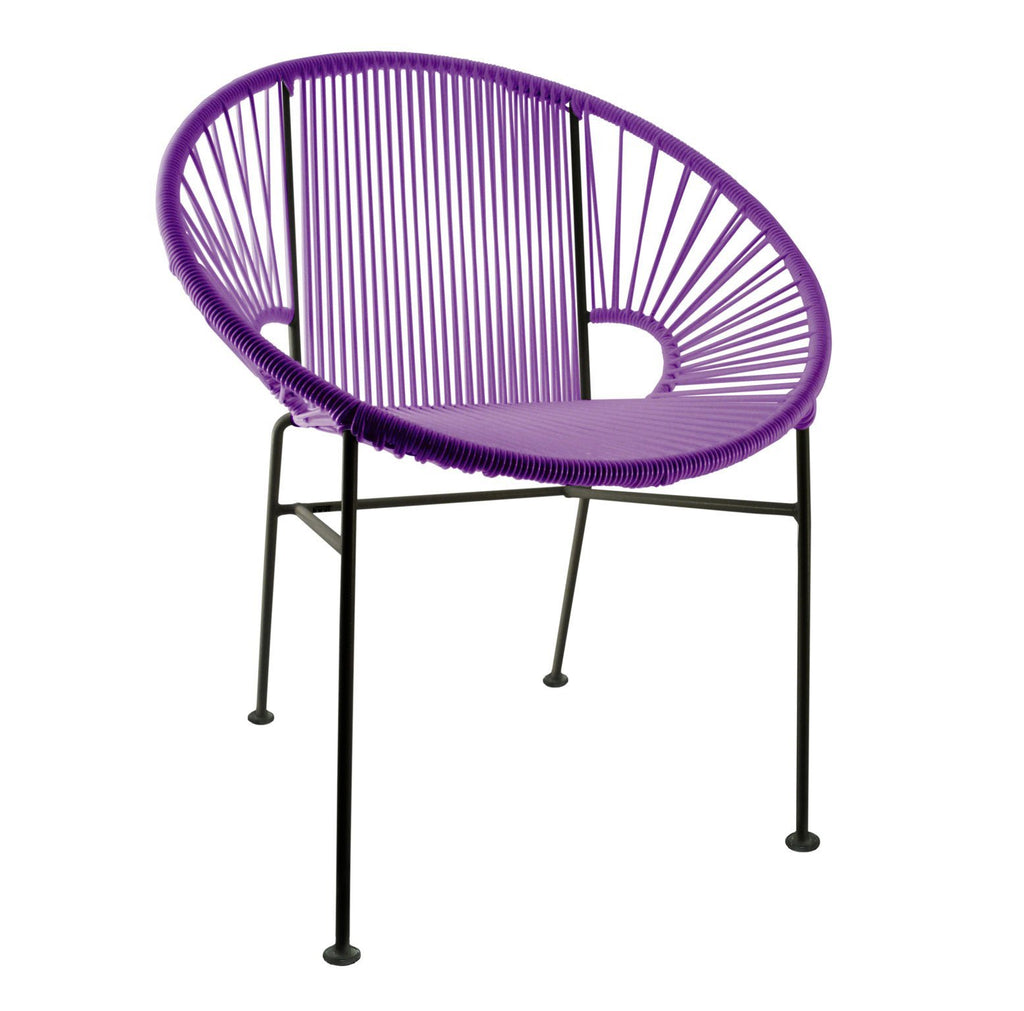 Dining Chairs Purple Weave on Black Frame Concha Chair on Black Frame