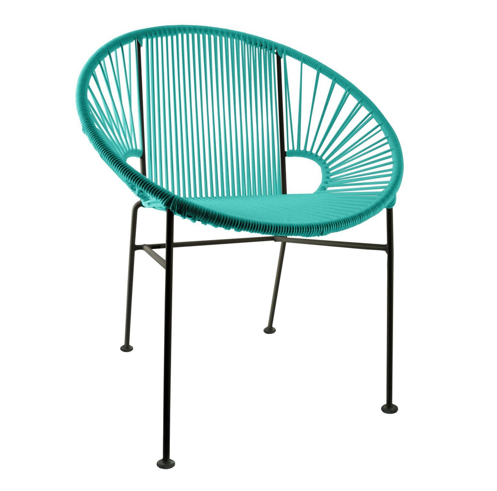 Dining Chairs Turquoise Weave on Black Frame Concha Chair on Black Frame