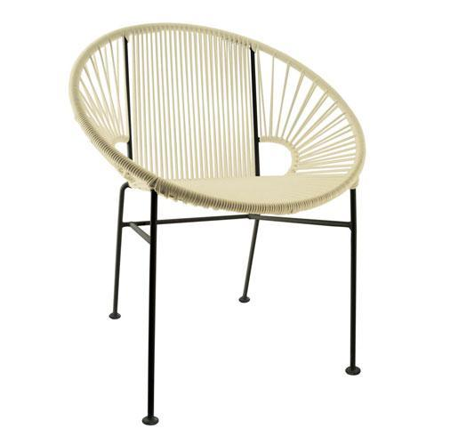 Dining Chairs Ivory Weave on Black Frame Concha Chair on Black Frame