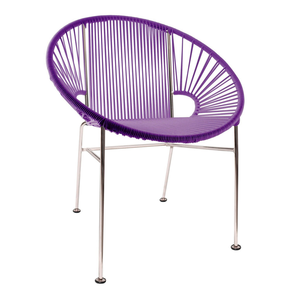 Dining Chairs Purple Weave on Chrome Frame Concha Chair on Chrome Frame