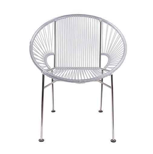 Dining Chairs Clear Weave on Chrome Frame Concha Chair on Chrome Frame