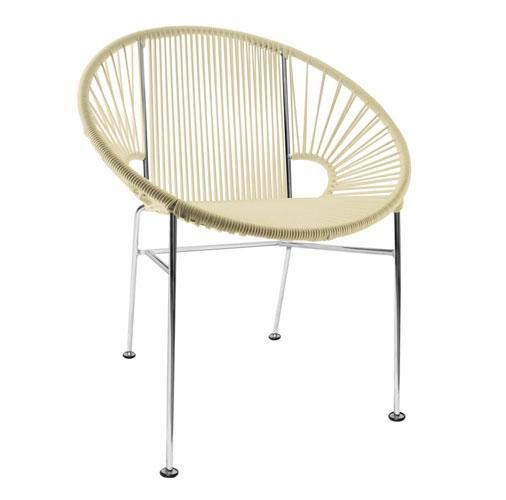 Dining Chairs Ivory Weave on Chrome Frame Concha Chair on Chrome Frame