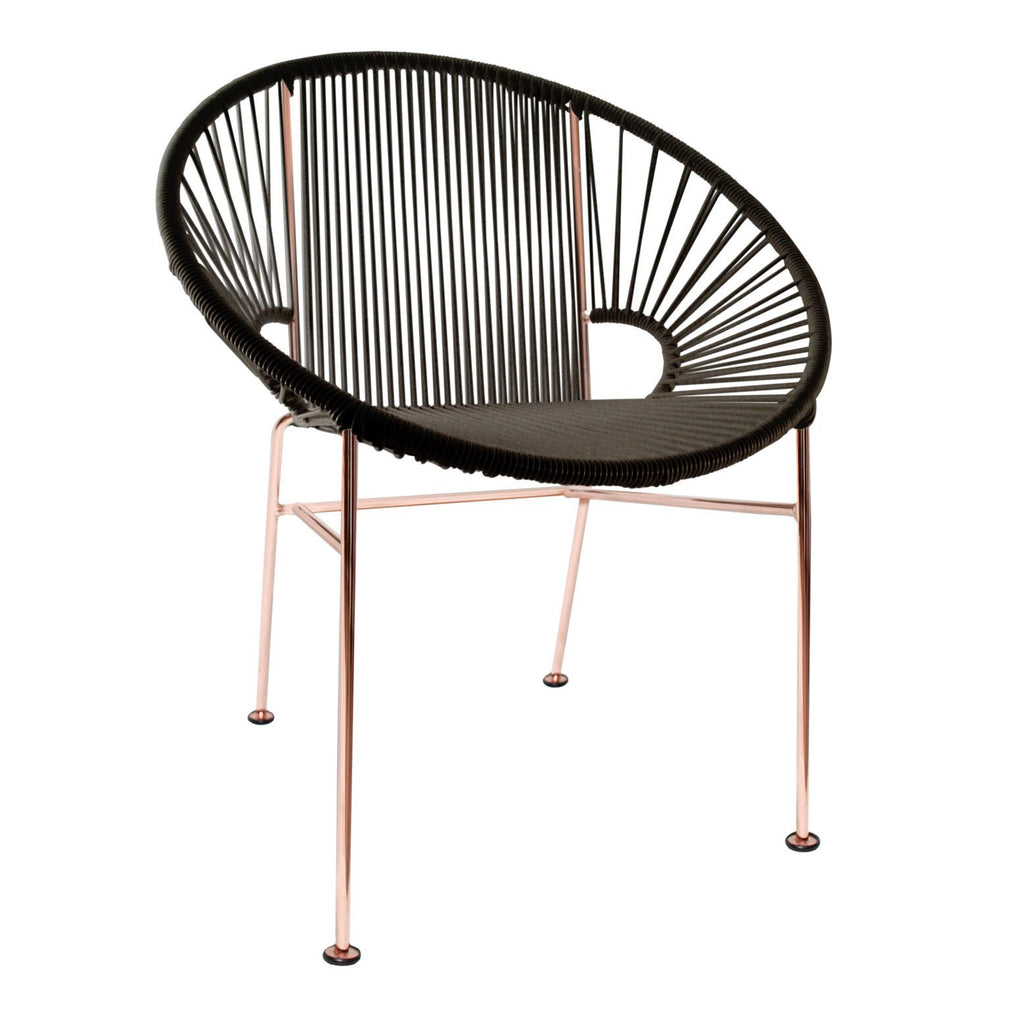 Dining Chairs Black weave on copper frame Concha Chair on Copper Frame