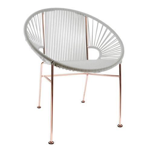 Dining Chairs White weave on copper frame Concha Chair on Copper Frame