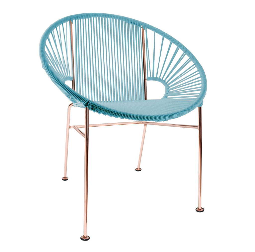 Dining Chairs Blue Weave on Copper Frame Concha Chair on Copper Frame
