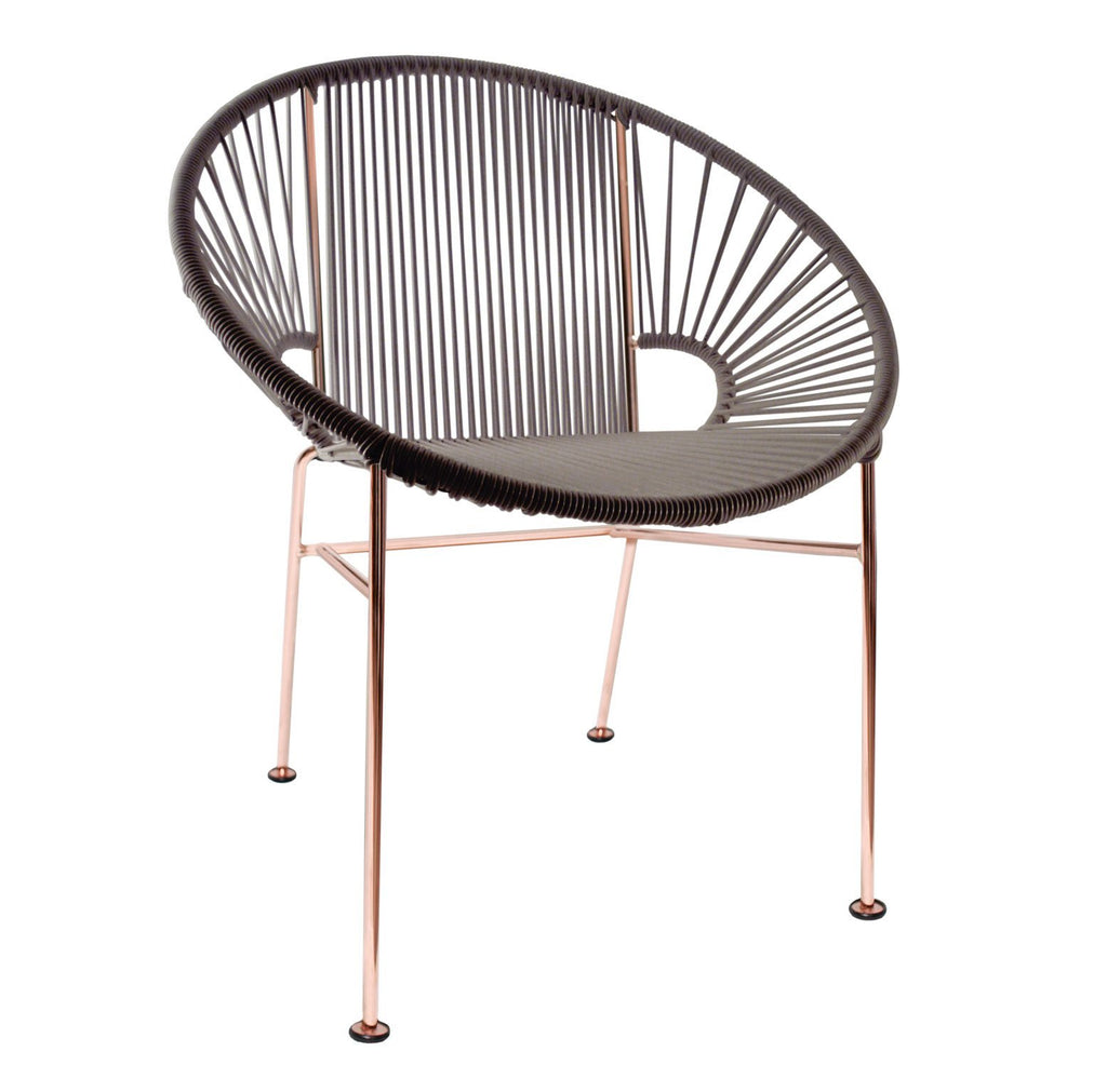 Dining Chairs Grey Weave on Copper Frame Concha Chair on Copper Frame