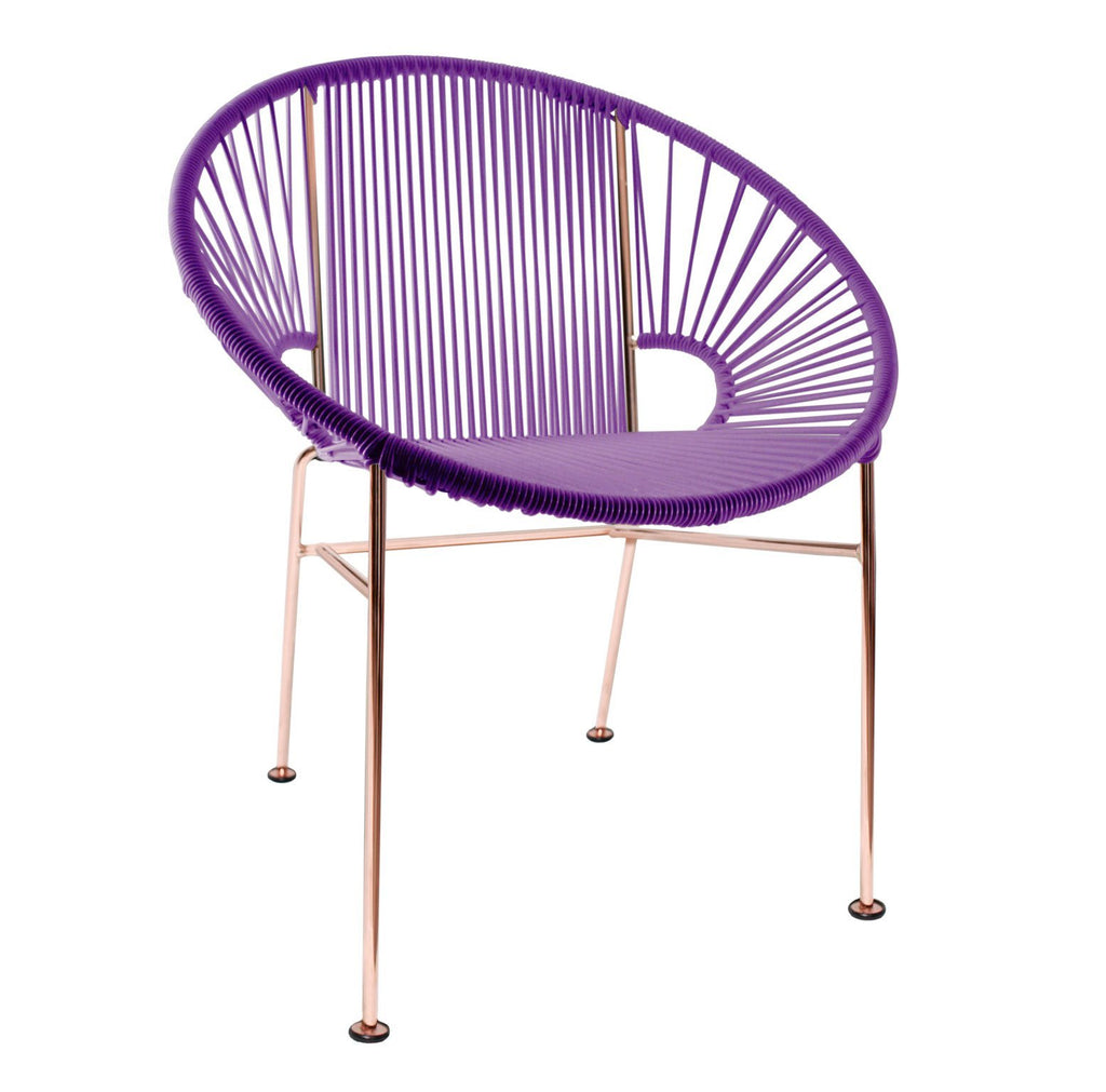 Dining Chairs Purple Weave on Copper Frame Concha Chair on Copper Frame