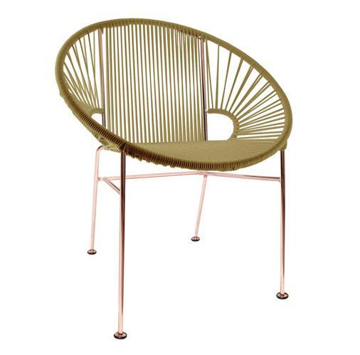 Dining Chairs Gold Weave on Copper Frame Concha Chair on Copper Frame