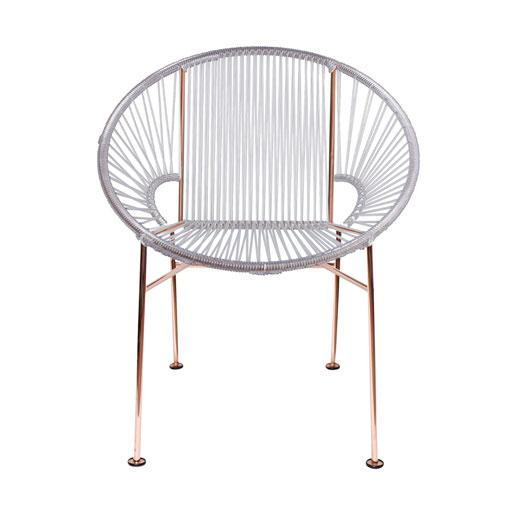 Dining Chairs Clear weave on Copper frame Concha Chair on Copper Frame