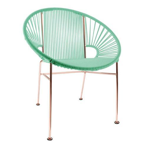Dining Chairs Mint weave on Copper frame Concha Chair on Copper Frame