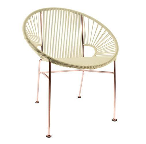 Dining Chairs Ivory weave on Copper frame Concha Chair on Copper Frame
