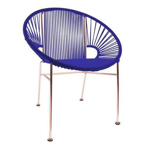Dining Chairs Deep Blue weave on Copper frame Concha Chair on Copper Frame