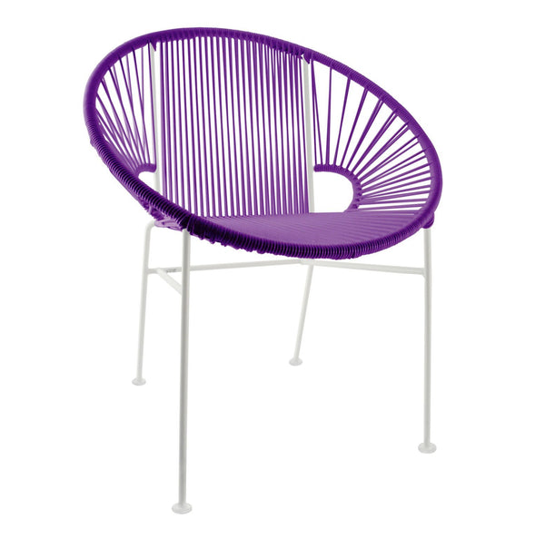 Dining Chairs Purple Weave on White Frame Concha Chair on White Frame