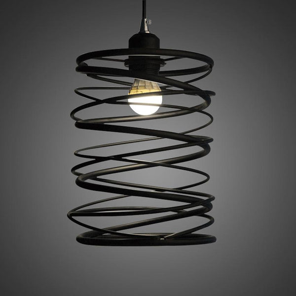 Creative Nordic-Style Spring Pendant Lamp - Cafe/Restaurant Vintage Iron Lighting at Lifeix Design
