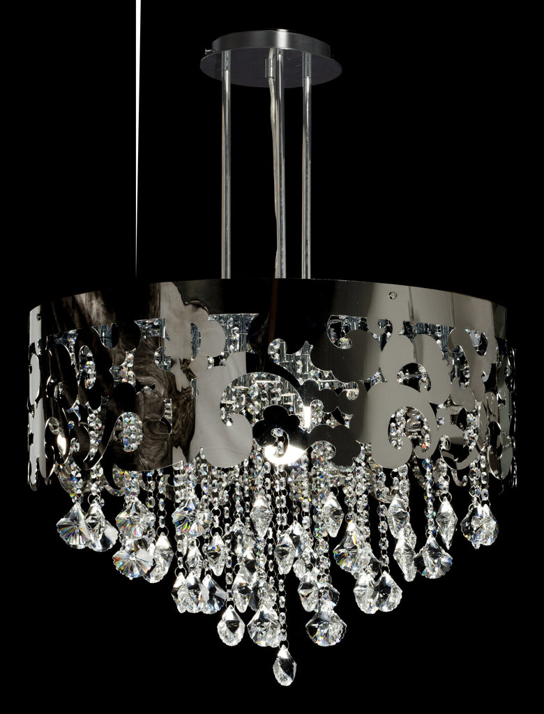 Crystal and Chrome Crown- Chandelier