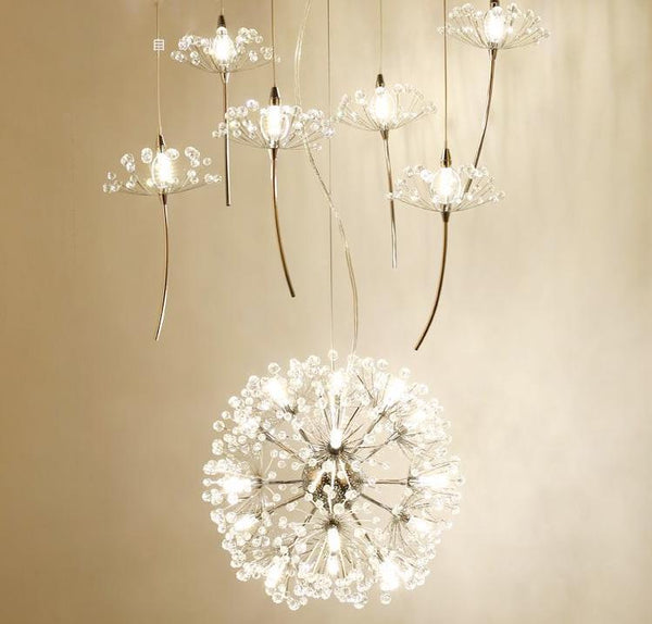 Crystal Dandelion Chandelier - Northern European Style Lighting Fixture at Lifeix Design