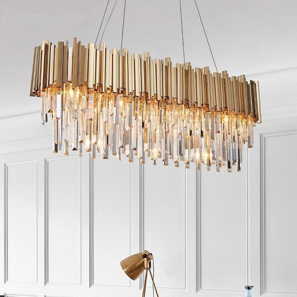 Crystal & Gold Long Chandelier - Luxurious Lighting Decor for Home/Hotel at Lifeix Design