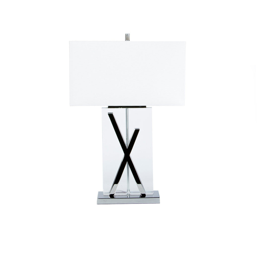 Crystal rectangle with x shape chrome table lamp