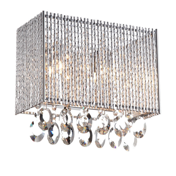 Wall Sconce Crystalline Rectangular 2 Light Crystals Wall Sconce