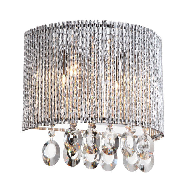 Wall Sconce Crystalline Round 2 Light Crystals Wall Sconce
