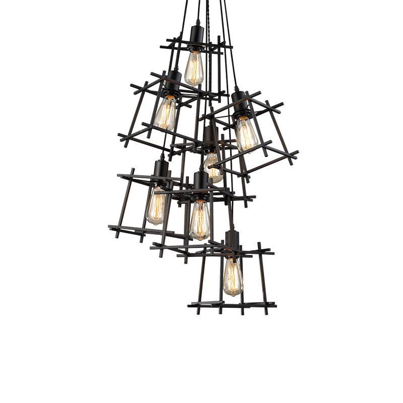 Cubic Frame Industrial Style Pendant Light at Lifeix Design