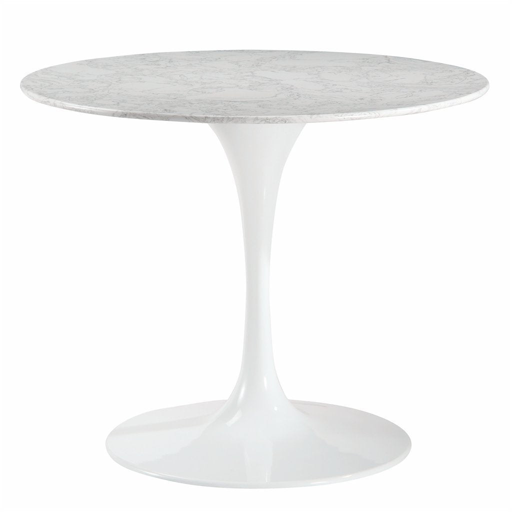 "table Daisy 36"" Artificial Marble Dining Table in White"