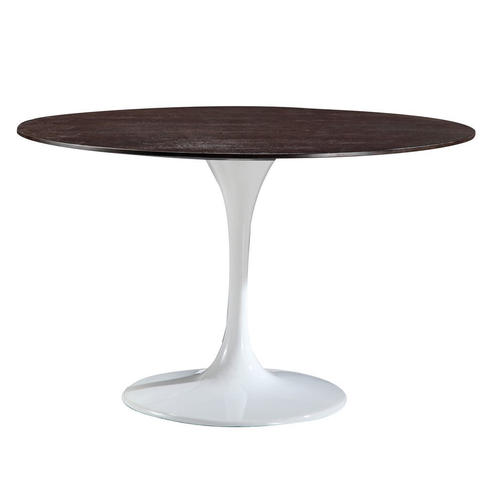 "table Daisy 48"" Walnut Top Dining Table with White Base"