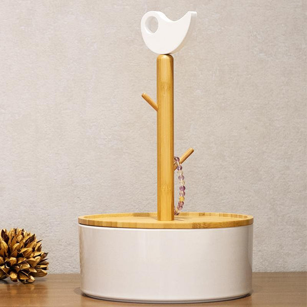 DANCING BIRD Natural Bamboo and Porcelain Storage Box with Keychain Rack at Lifeix Design