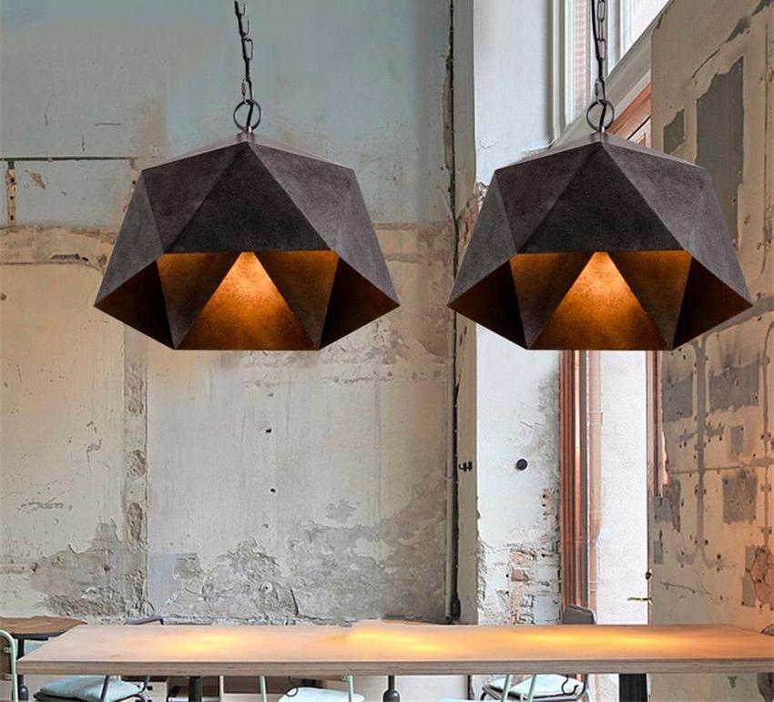 Diamond Shape Industrial Iron Pendant Light at Lifeix Design