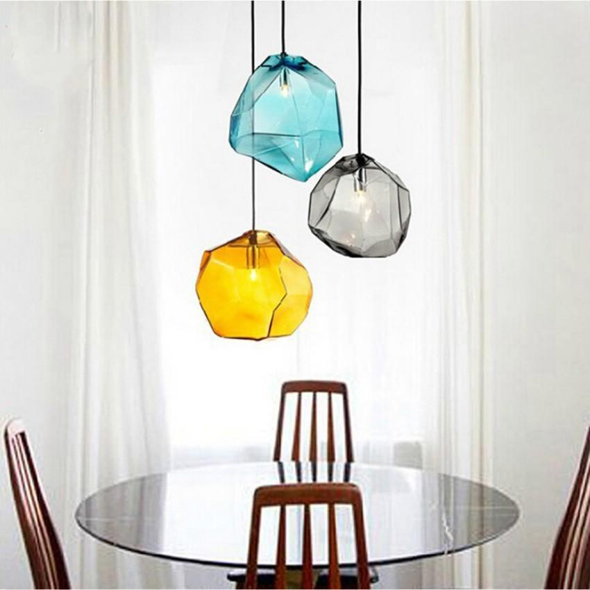 Buy chunk of crystal colorful modern glass pendant light at lifeix diamond shape modern colorful glass pendant lights at lifeix design aloadofball Image collections