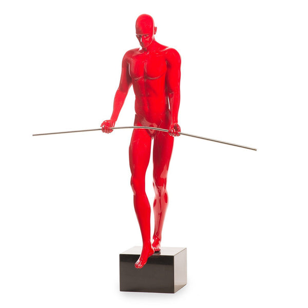 Finesse Décor- Balancing Man Sculpture-  Red