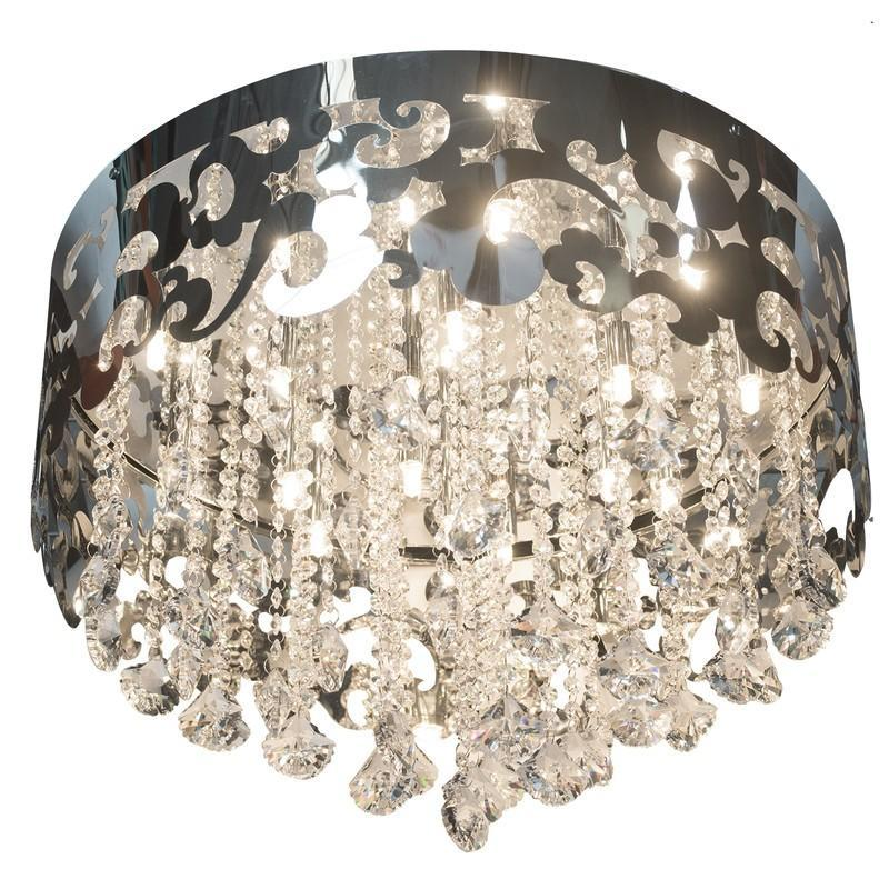 Finesse Lighting- Grand Chrome Crystal Crown- Flush