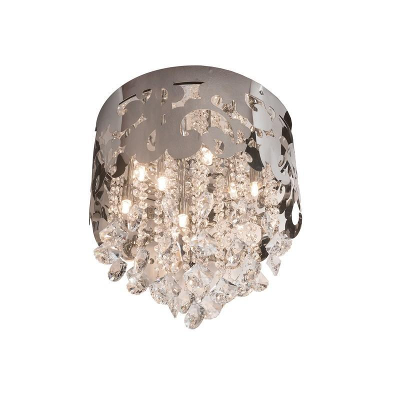 Finesse Lighting- Petit Chrome Crystal Crown- Flush