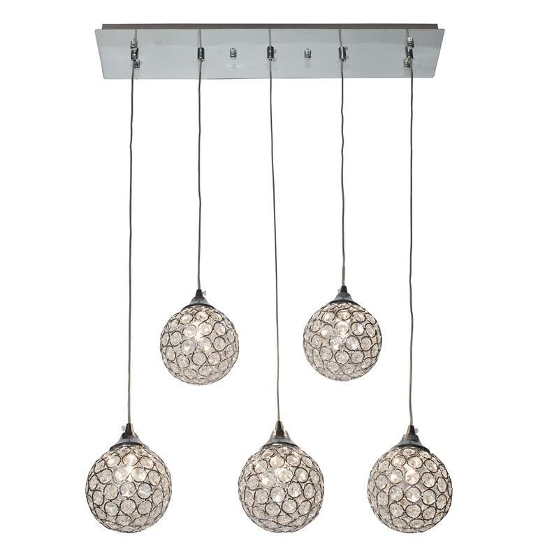 Finesse Lighting- Sparling Crystal Dome- 5 Pendant