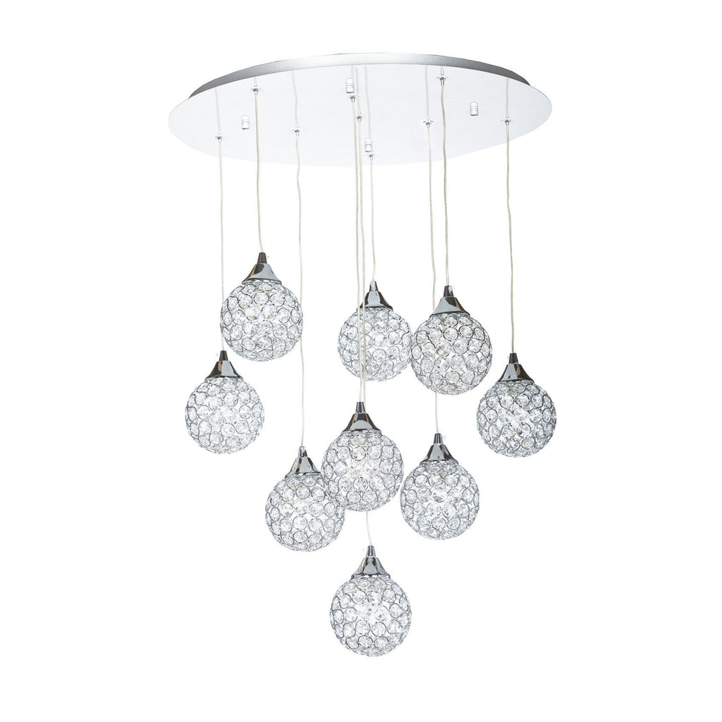 Finesse Lighting- Sparling Crystal Dome- 9 Pendant Flush