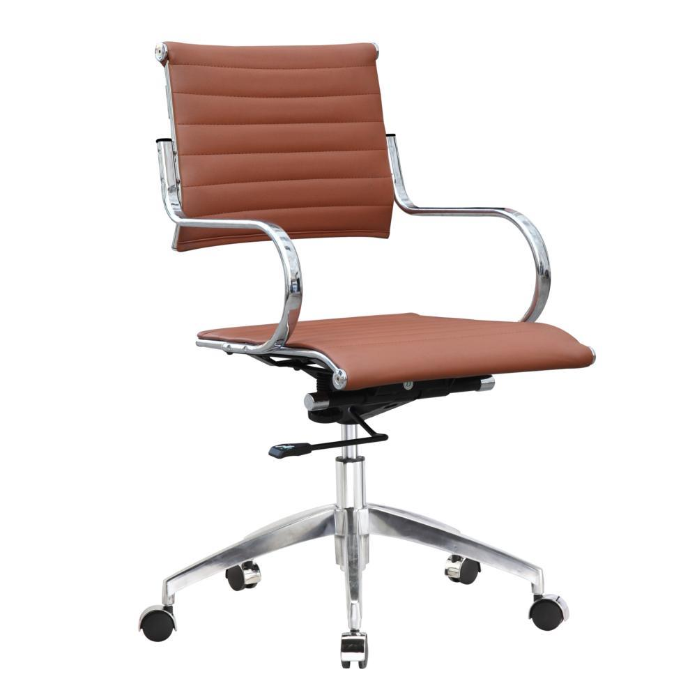Light Brown Flees Office Chair Mid Back