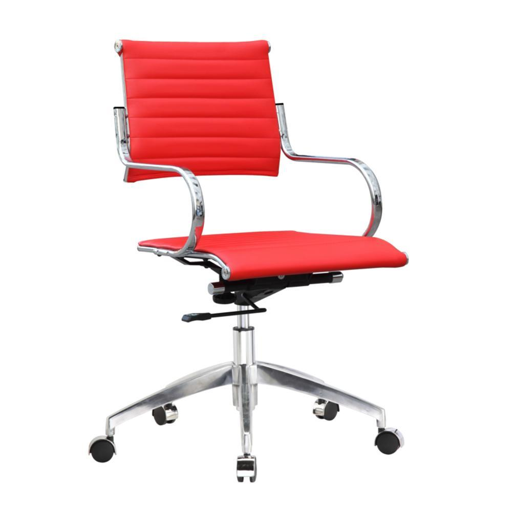 Red Flees Office Chair Mid Back