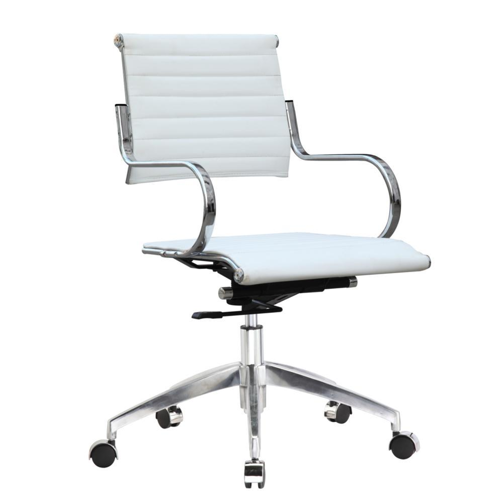 White Flees Office Chair Mid Back