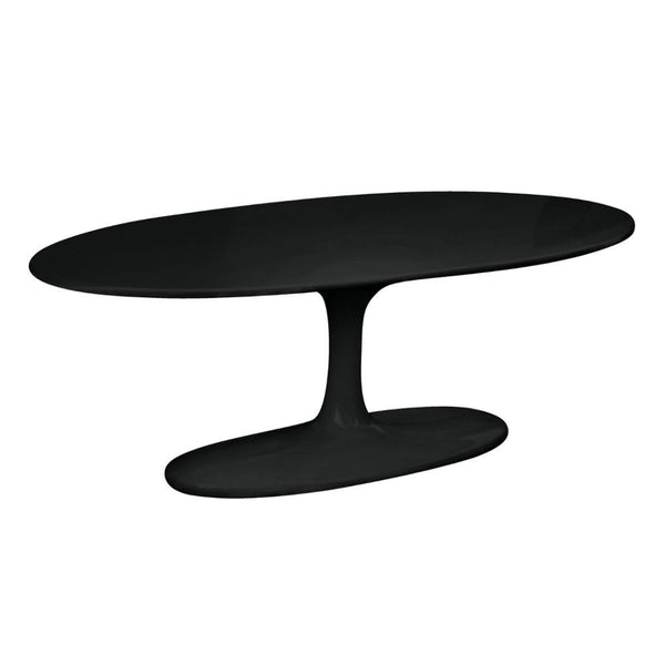 Black Flower Coffee Table Oval Fiberglass
