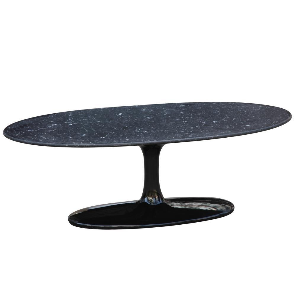Black Flower Coffee Table Oval Marble Top