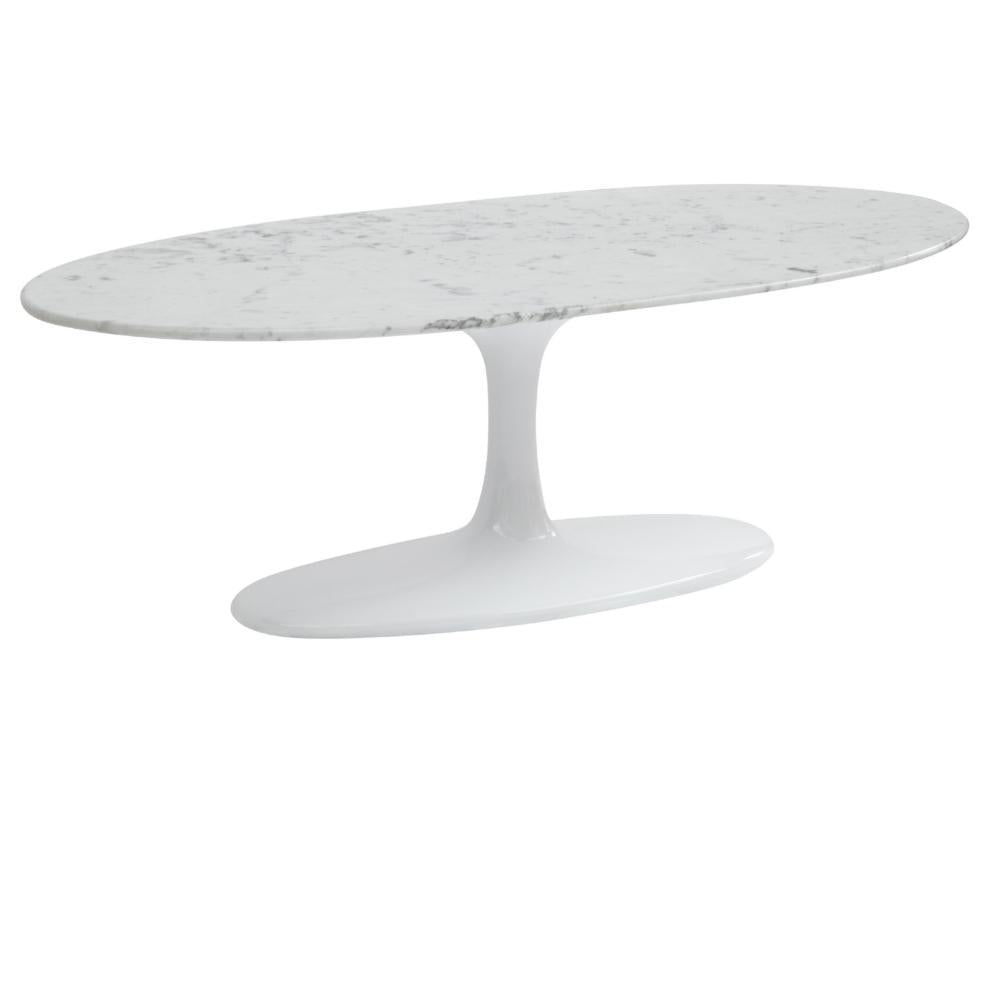 White Flower Coffee Table Oval Marble Top