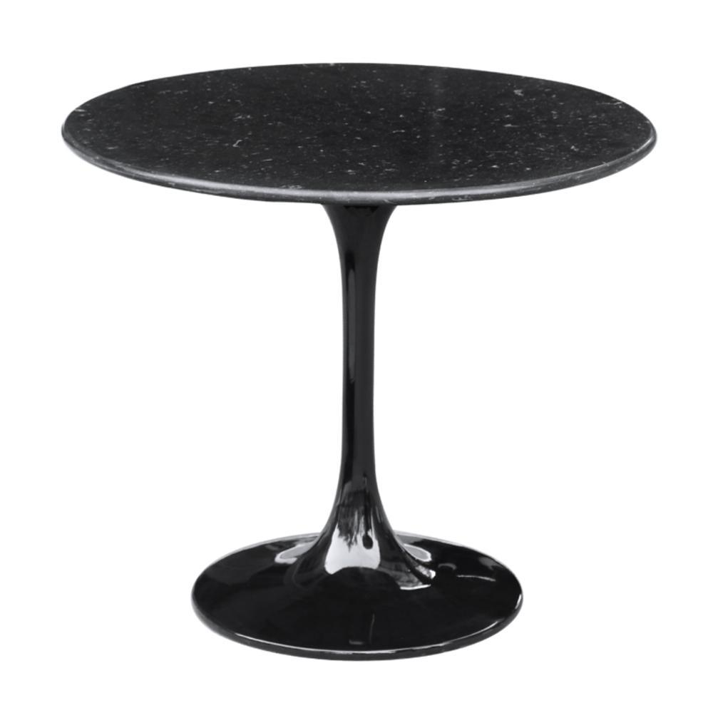 Black Flower End Side Table Black Marble Top