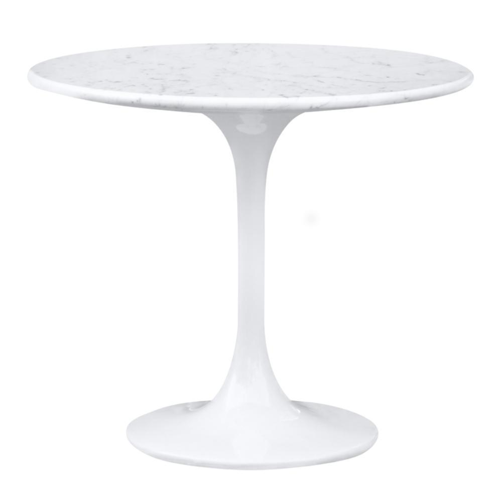 White Flower End Side Table White Marble Top