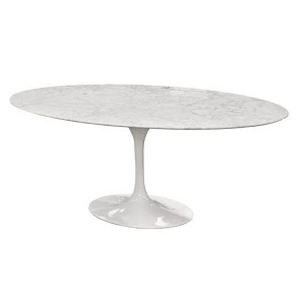 White Flower Marble Table Oval 60