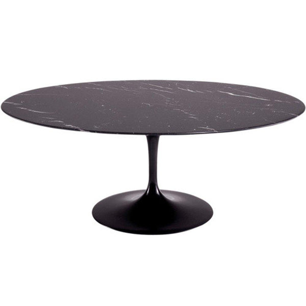 Black Flower Marble Table Oval 78""