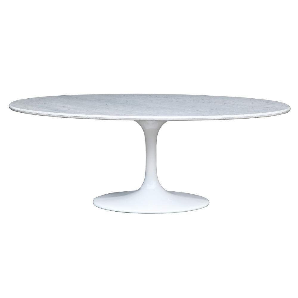 White Flower Marble Table Oval 78""