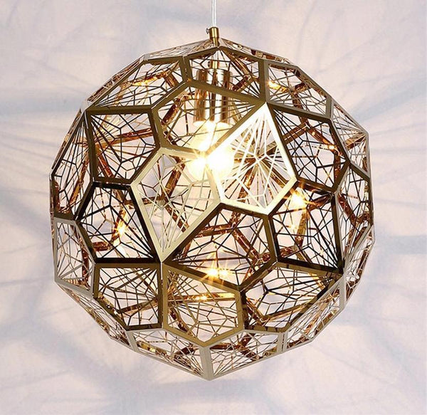 Geometric Metal Mesh Globe Modern Pendant Lights at Lifeix Design