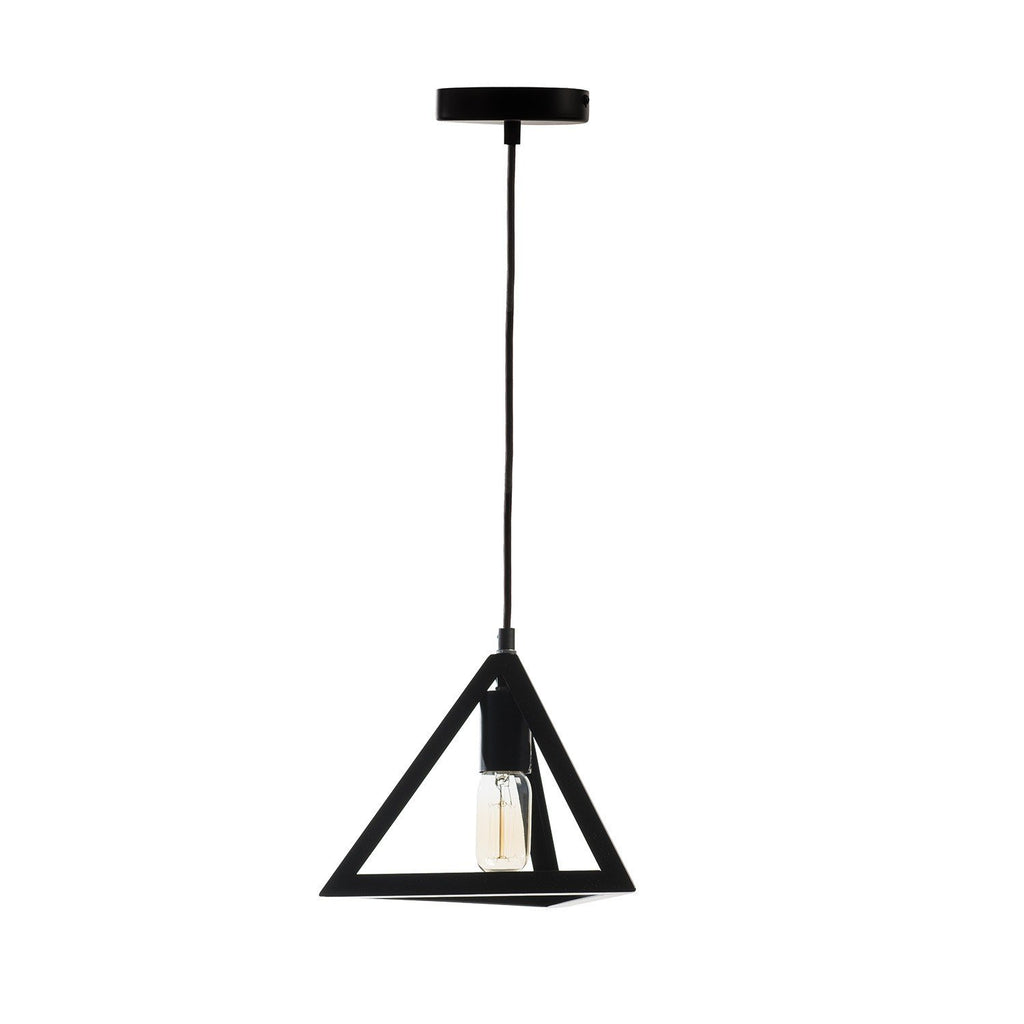 Geometric Shapes- Pyramid Pendant Lamp - (includes vintage bulbs)